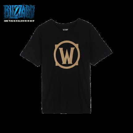 海外充值暴雪魔兽世界logo图标烫金短袖T恤